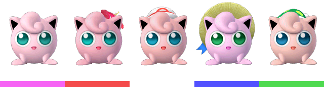 Jigglypuff's palette swaps, with corresponding tournament mode colours.