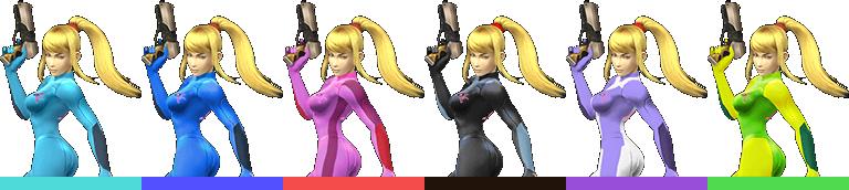 Zero Suit Samus's palette swaps, with corresponding tournament mode colours.