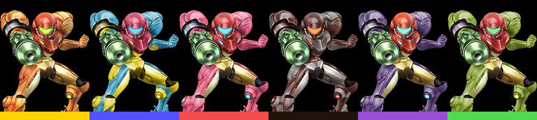 Samus's palette swaps, with corresponding tournament mode colours.
