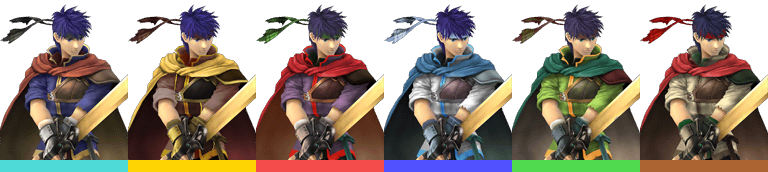 Ike's palette swaps, with corresponding tournament mode colours.