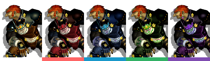 Ganondorf's palette swaps, with corresponding tournament mode colours.