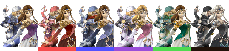 Zelda's and Sheik's palette swaps, with corresponding tournament mode colours.