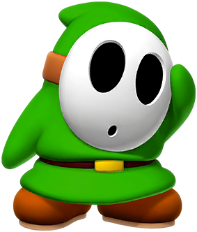 A green Shy Guy from Paper Mario: Color Splash
