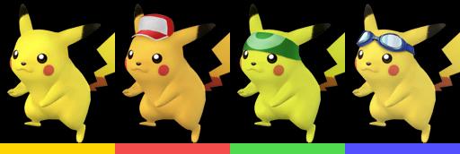 Pikachu's palette swaps, with corresponding tournament mode colours.