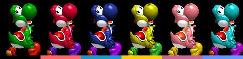 Yoshi's palette swaps, with corresponding tournament mode colours.
