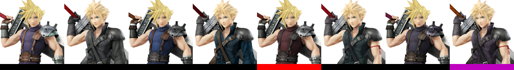 Cloud's costumes in Super Smash Bros. for Wii U.