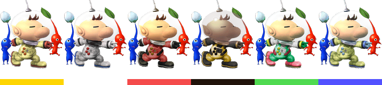 Olimar's palette swaps, with corresponding tournament mode colours.