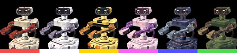 R.O.B.'s palette swaps, with corresponding tournament mode colours.