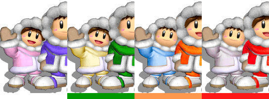The Ice Climbers's palette swaps, with corresponding tournament mode colours.