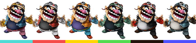 Wario's first set of palette swaps, with corresponding tournament mode colours.