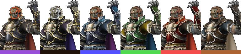 Ganondorf's palette swaps, with corresponding tournament mode colours.