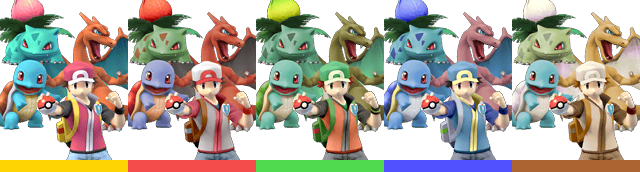 Pokémon Trainer's palette swaps, with corresponding tournament mode colours.