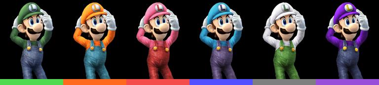 Luigi's palette swaps, with corresponding tournament mode colours.