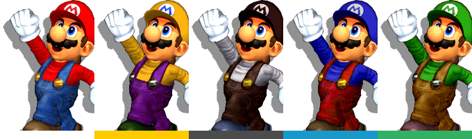 Mario's palette swaps, with corresponding tournament mode colours.