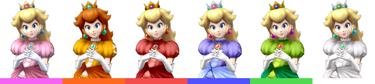 Peach's palette swaps, with corresponding tournament mode colours. One of her pallete swaps makes her resemble Princess Daisy.