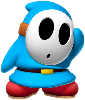A blue Shy Guy from Paper Mario: Color Splash