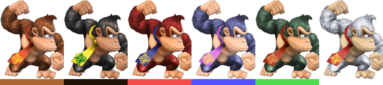 Donkey Kong's palette swaps, with corresponding tournament mode colours.