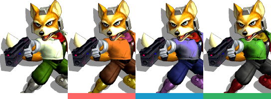 Fox's palette swaps, with corresponding tournament mode colours.