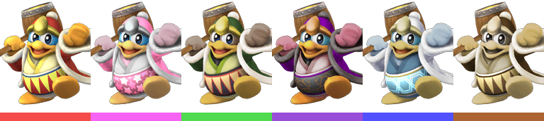 King Dedede's palette swaps, with corresponding tournament mode colours.