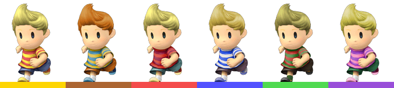 Lucas's palette swaps, with corresponding tournament mode colours.