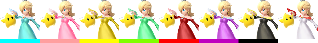 One of Rosalina's Palette swaps makes her look like her fire flower power up in Super Mario 3-D World. Another makes her resemble Peach a bit.