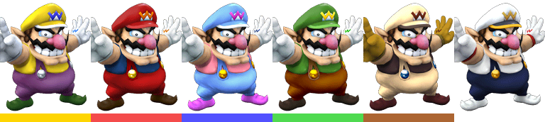 Wario's second set of palette swaps, with corresponding tournament mode colours.