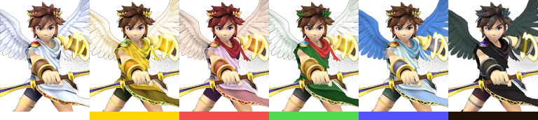 Pit's palette swaps, with corresponding tournament mode colours.