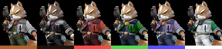 Fox's palette swaps, with corresponding tournament mode colours.