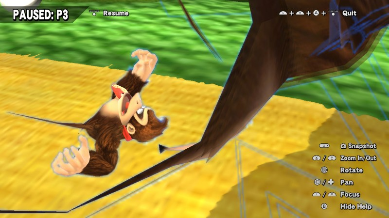 Invisible Wario using Chomp on Donkey Kong in a team battle.