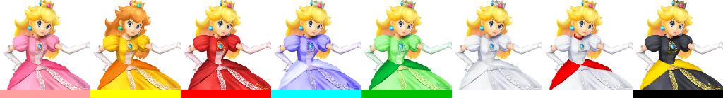 These are Peach's palette swaps for Super Smash Bros. 4. One of Peach's palette swaps resembles Princess Daisy.