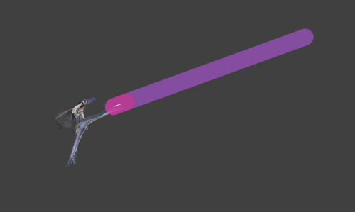 Hitbox visualization for Bayonetta's forward tilt 2 Bullet Arts