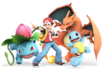 Pokémon Trainer, along with his Squirtle, Ivysaur, and Charizard.
