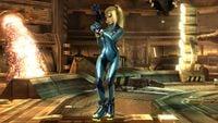 Zero Suit Samus's first idle pose in Super Smash Bros. for Wii U.