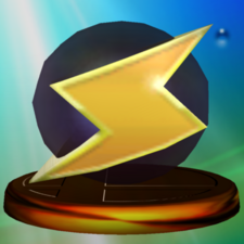 Screw Attack trophy from Super Smash Bros. Melee.