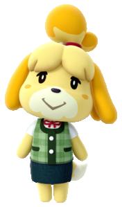 Artwork of Isabelle from Animal Crossing: amiibo Festival. Via Nookipedia.