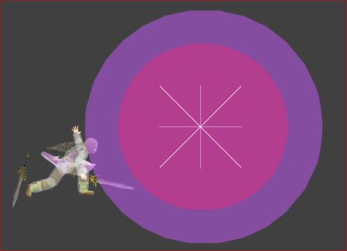 Hitbox visualization for Hero's Thwack