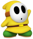 A yellow Shy Guy from Paper Mario: Color Splash