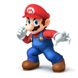 An alternate version of Mario's SSB4 artwork, from the E3 press kit.