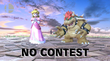 """Bowser and Peach on the """"No Contest"""" screen uploaded with the Switch's Photo Sharing functionality. Bowser appears abnormally small. At the time of this upload, it is unknown if the sizes of other characters have been altered as well."""
