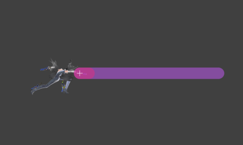 Hitbox visualization for Bayonetta's rapid jab finisher Bullet Arts