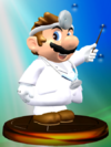 Dr. Mario trophy from Super Smash Bros. Melee.
