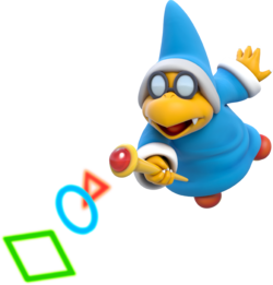 Official artwork of a Magikoopa in SM3DW. From the Mario Wiki.