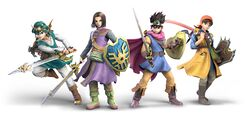 Official artwork showing the heroes from Dragon Quest XI, III, IV, and VIII.
