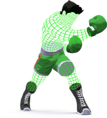 A sample image of the wireframe version of Little Mac in SSB4.