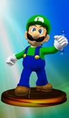 Luigi trophy from Super Smash Bros. Melee.