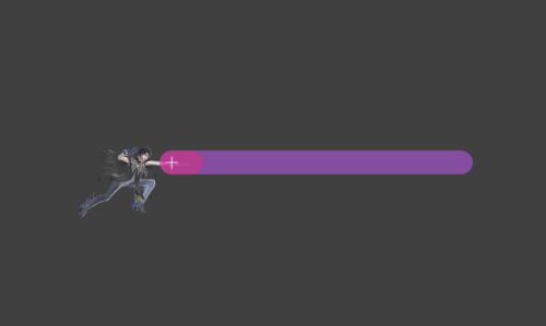 Hitbox visualization for Bayonetta's jab 1 Bullet Arts