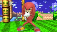 The Knuckles hat and costume being worn by a Mii Brawler in Ultimate.