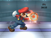 The hitboxes of Mario's Fireball