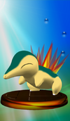 Cyndaquil trophy from Super Smash Bros. Melee.