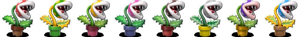 Piranha Plant's alternate costumes.